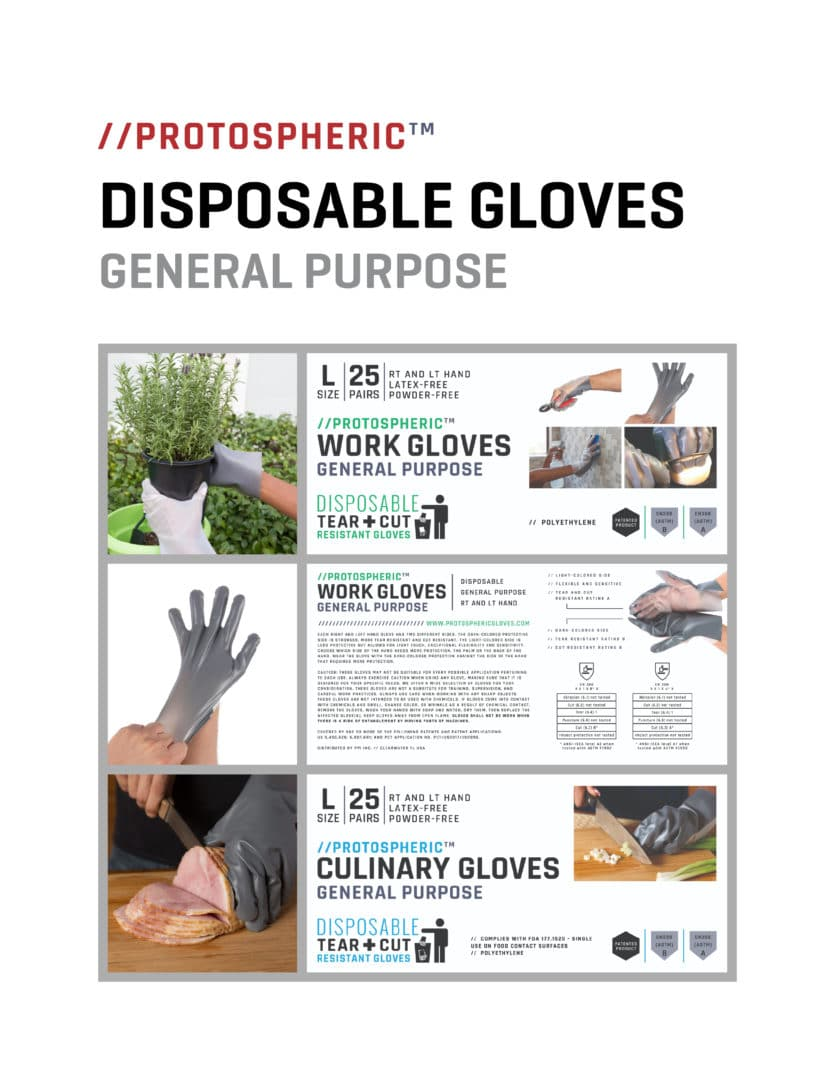 Gloves Brochure Cover Image - Protospheric Products Inc